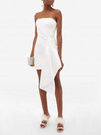 HALPERN Bustier draped duchess-satin mini dress in white