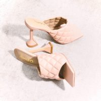 Stassie for EGO Butter Quilted Square Peep Toe Pyramid Heel Mule In Nude Faux Leather – luxe look mules