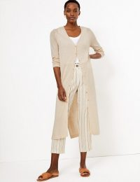 M&S COLLECTION Button Detailed Midi Cardigan / neutral longline cardi