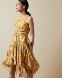TED BAKER FABULAS Cabana ruched pleated midi dress in Yellow