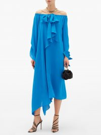 ROLAND MOURET Caldera blue off-the-shoulder silk-georgette dress ~ asymmetric occasion wear