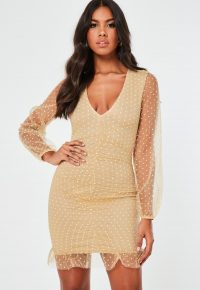 Missguided camel mesh dobby organza ruched mini dress – sheer sleeve evening dresses