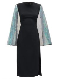 DAVID KOMA Cape-sleeve sequinned crepe dress in black ~ lbd