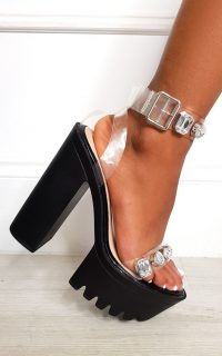 Ikrush Cardi Jewelled Chunky Platform Heels in Black