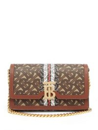 BURBERRY Carrie coated-canvas & leather cross-body bag
