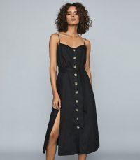 REISS CATALINA LINEN BUTTON-UP MIDI DRESS BLACK ~ classic sundress