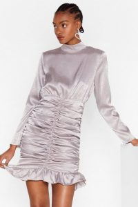 Ruched Dresses – NASTY GAL Chasin' the Ruche Satin Jacquard Dress in Silver