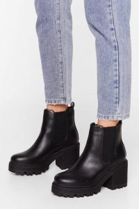 NASTY GAL Chelsea Dagger Wide Fit Heeled Boot in black ~ chunky ankle boots