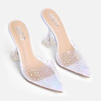 Stassie for EGO Christina Diamante Detail Pointed Peep Toe Clear Perspex Pyramid Heel Mule In Silver Holographic Faux – jeweled open toe mules