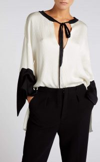 ROLAND MOURET CIRO TOP White/Black – luxury monochrome tops