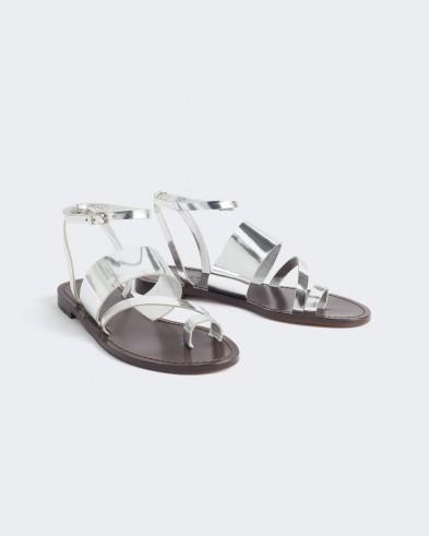 Jigsaw CLAUDIA LEATHER STRAP SANDAL Silver / metallic summer flats