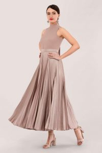 CLOSET GOLD – PLEATED SKIRT DRESS D5998 in beige ~ flared occasion dresses