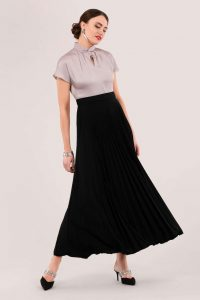 CLOSET TWIST COLLAR PLEATED DRESS D5756 ~ vintage looking party dresses