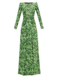 DOLCE & GABBANA Clover-print silk-blend crepe gown – puff sleeve gowns