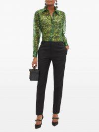 DOLCE & GABBANA Clover-print silk-organza blouse – matches fashion