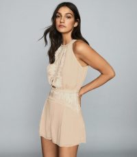 Reiss COCO EMBROIDERED RESORTWEAR PLAYSUIT NUDE