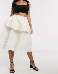 Collective The Label Petite textured tiered prom skirt in ivory