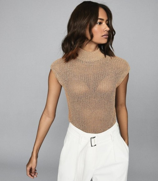 REISS CONNIE METALLIC KNITTED TOP BRONZE