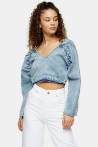 TOPSHOP CONSIDERED Acid Wash Denim Batwing Crop Top
