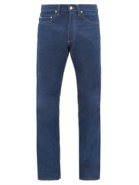 E. TAUTZ Contrast-stitch slim-fit cotton jeans / men's casual clothing
