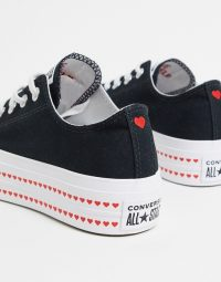 Converse Chuck Taylor Lift Platform Heart black trainers black/university red