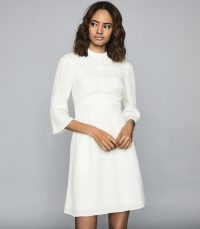 REISS CORA BELL SLEEVE SHIFT DRESS IVORY ~ wardrobe essentials ~ LWD