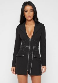 Manière De Voir CORSET BLAZER DRESS WITH CHAIN BLACK – PLUNGING LBD