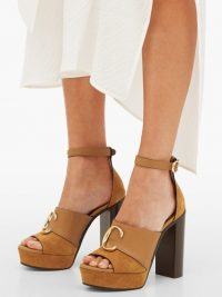 CHLOÉ C-plaque tan-suede platform sandals | vintage look high heel shoes