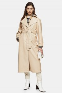 Topshop Cream Crinkle PU Trench
