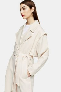 TOPSHOP Cream Lipped Shoulder Duster Coat – neutral outerwear
