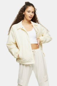 Topshop Cream Quilted Shell Jacket – casual outerwear