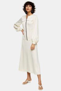 Topshop Cream Satin Zip Shirt Dress