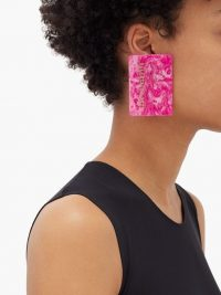 BALENCIAGA Credit card logo-plaque drop earrings in pink marbled resin