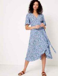 PER UNA Crepe V-Neck Midi Wrap Dress Blue Mix