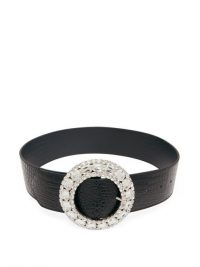 ALESSANDRA RICH Crystal-buckle crocodile-effect black-leather belt / large buckled belts