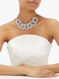ALESSANDRA RICH Crystal-embellished chain-link choker ~ chunky chokers ~ glamorous statement piece
