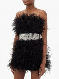 CHRISTOPHER KANE Crystal-embellished leather belt ~ wide statement belts