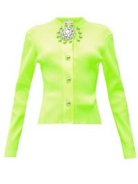 CHRISTOPHER KANE Crystal-embellished ribbed cardigan in neon-yellow