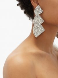 ALESSANDRA RICH Crystal-embellished square-drop clip earrings ~ glamorous style statement