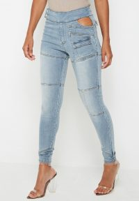 Manière De Voir CUT OUT WAIST SKINNY JEANS – MID BLUE | seam detail skinnies