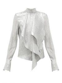 PETAR PETROV Cynthia draped silk-blend lamé blouse ~ silver high neck blouse