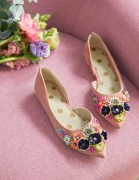 Boden Cynthia Embellished Flats – Dark Chalky Pink ~ floral shoes