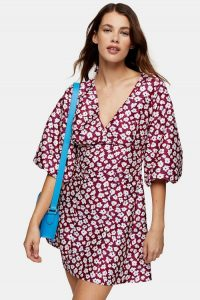 Topshop Daisy Floral Print Puff Mini Dress