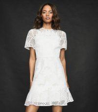 REISS DAMARA LACE MINI DRESS WHITE – semi sheer dresses