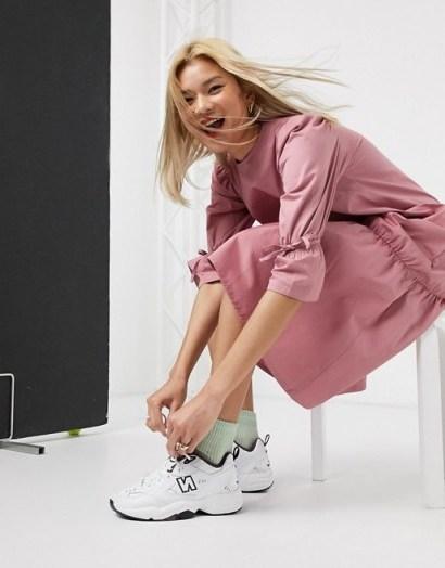 Damson Madder organic cotton maxi dress with peplum hem in pink plum – drop waist dresses - flipped