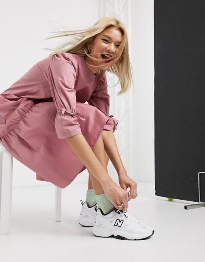 Damson Madder organic cotton maxi dress with peplum hem in pink plum – drop waist dresses
