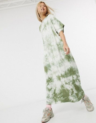 Damson Madder organic poly cottonrelaxed maxi t-shirt dress in tie-dye – loose fit dresses - flipped