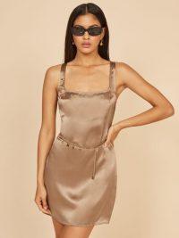 REFORMATION Darcey Dress Bayu ~ sleeveless square neck mini ~ silk dresses