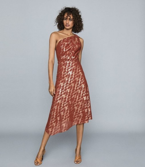 REISS DELILAH ONE SHOULDER METALLIC DRESS RED ~ event glamour