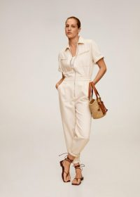 MANGO Denim jumpsuit ecru REF. 67086305-VILLAGE-LM